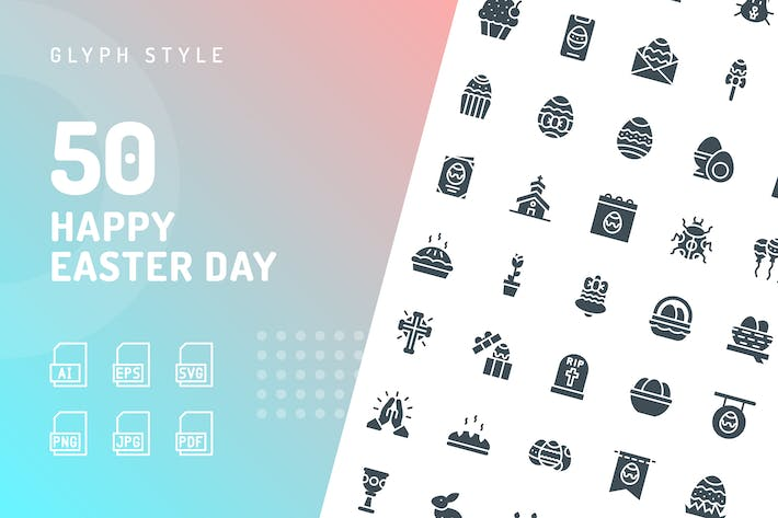 Cover Image For Happy Easter Day Glyph Icons