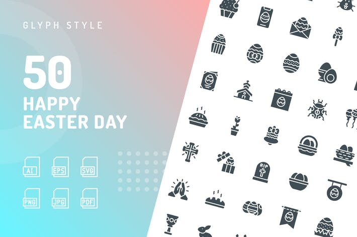 Thumbnail for Happy Easter Day Glyphe Icons