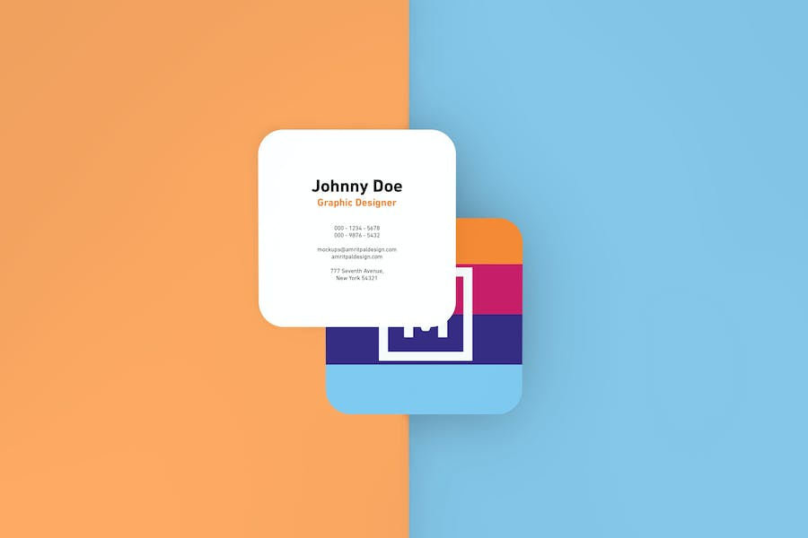 Round Edges Square Business Card Mockups