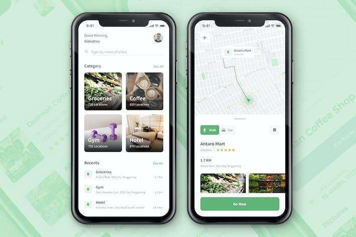 Экран Приложение «Карта и местоположение»