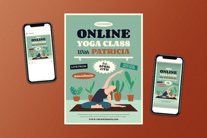 Yoga Online Class Flyer Set