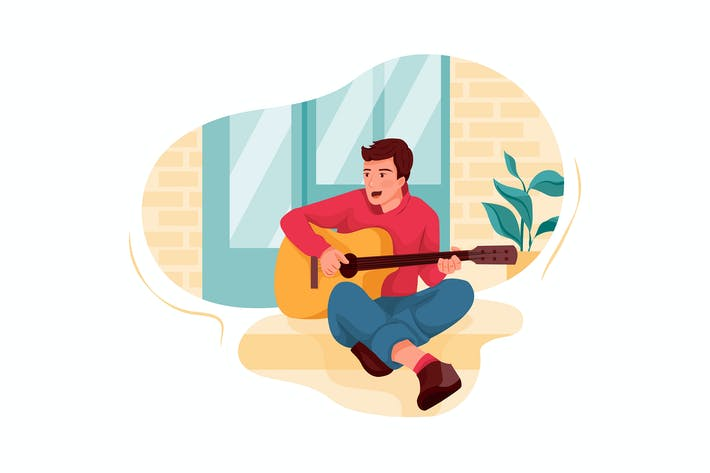 Thumbnail for Male artist playing guitar Illustration