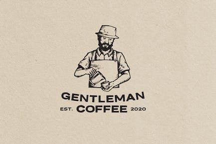Gentleman Coffe Vintage Logo Template