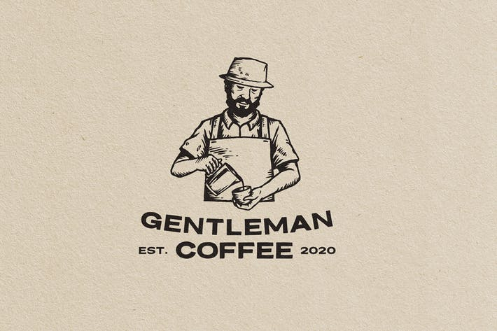 Thumbnail for Gentleman Coffe Vintage Logo Template