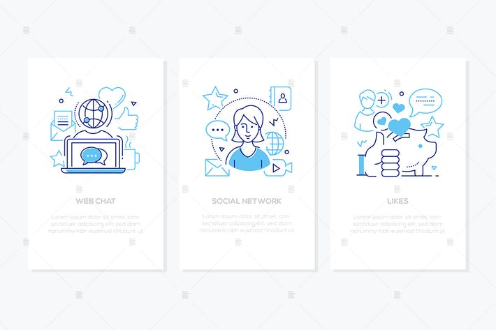 Thumbnail for Social network concept - line design style banners