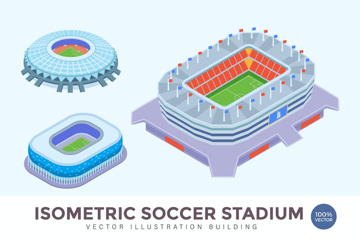 Cover Image For Isometric Soccer Stadium Vector Building