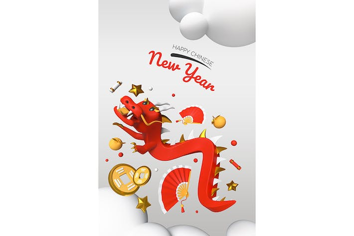 Thumbnail for Happy Chinese New Year - modern colorful 3d poster
