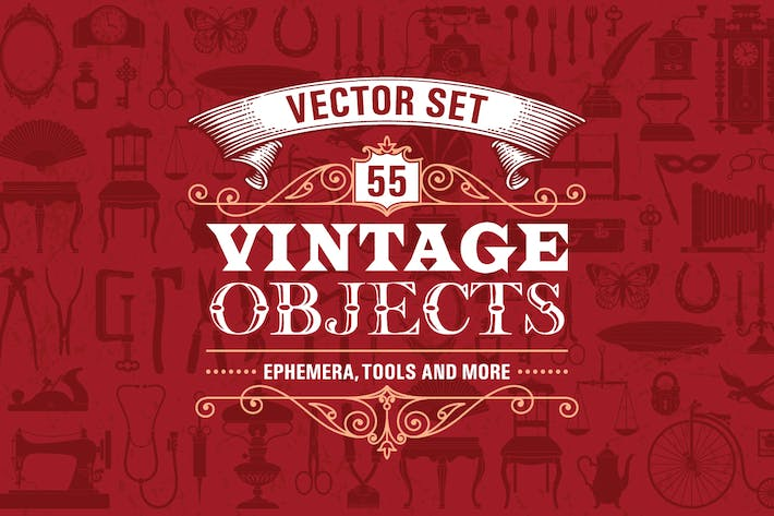 Thumbnail for 55 Vintage Retro Objects Vector Set