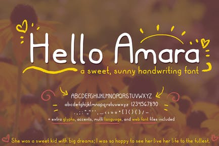 Hello Amara Cute Handwriting Font (Handwritten)