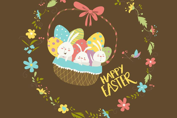 Thumbnail for Easter bunnies sitting in a basket with eggs