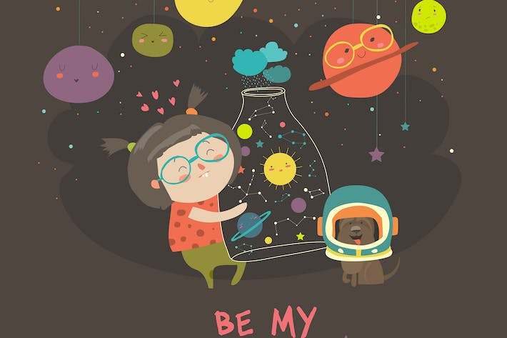Thumbnail for Cute girl with planets of the solar system. Vector