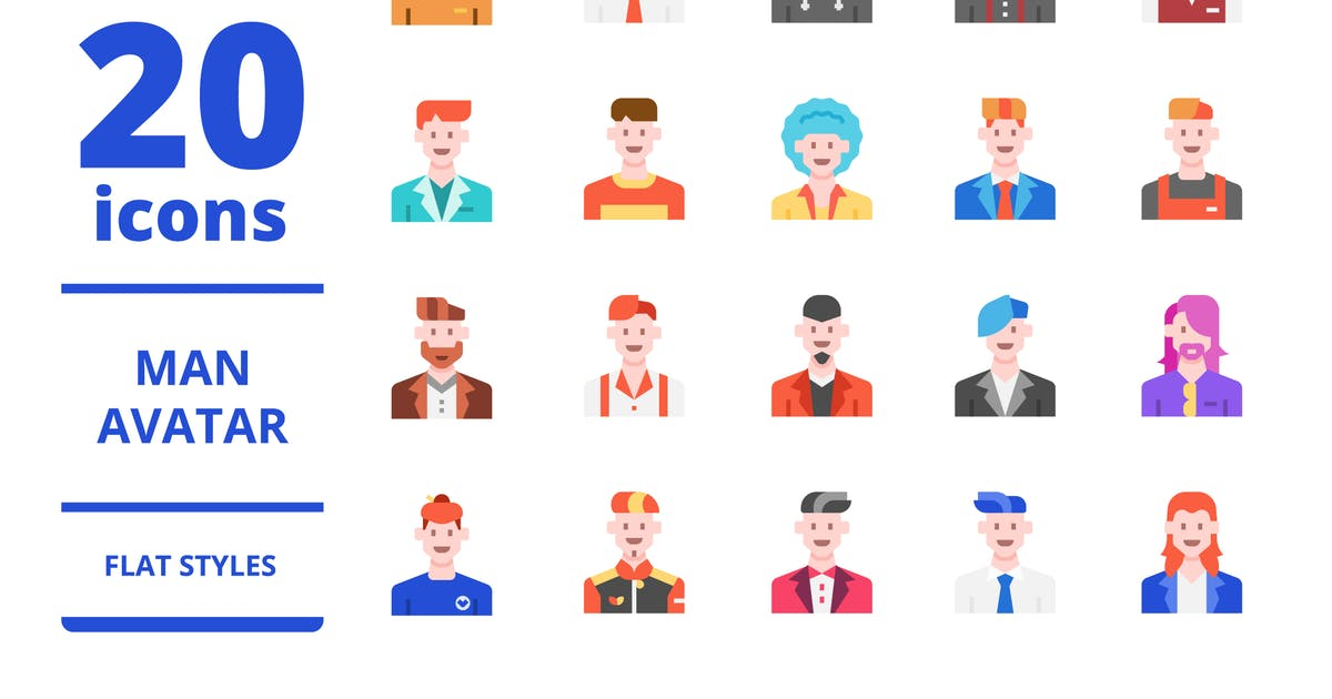 Download Man avatar Flat icons packs by linector