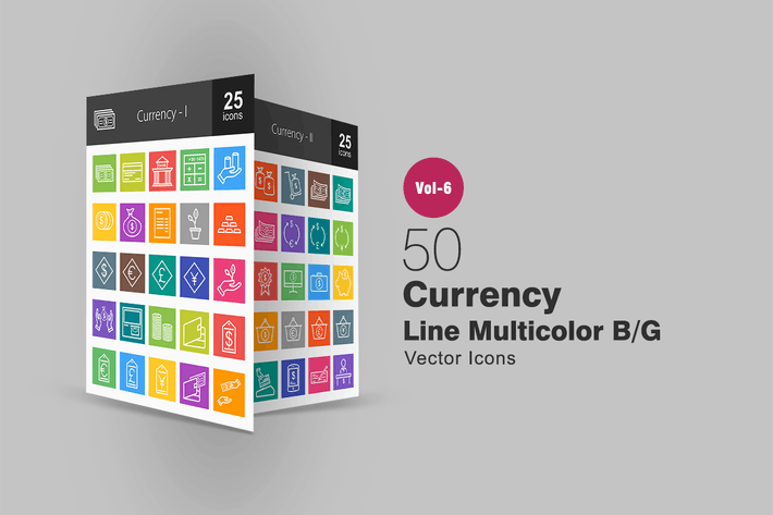 Thumbnail for 50 Currency Line Multicolor B/G Icons