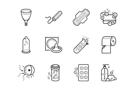 Conjunto de iconos de Ginecología e higiene