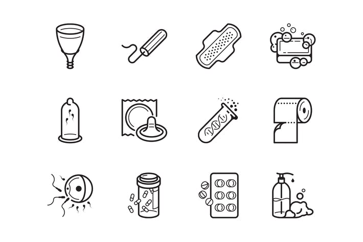 Thumbnail for Gynaecology and hygiene icon set
