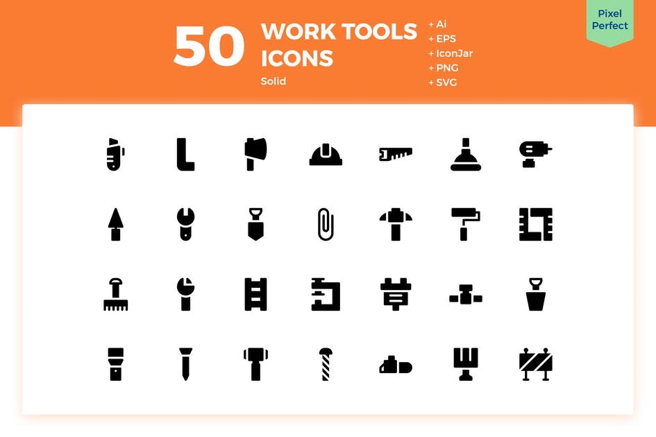 Download 50 Work Tools Icons (Solid) by inipagi