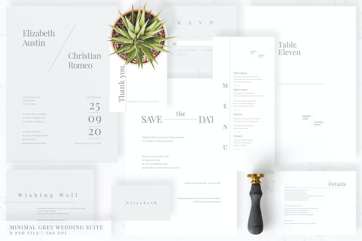 Minimal Grey Wedding Suite