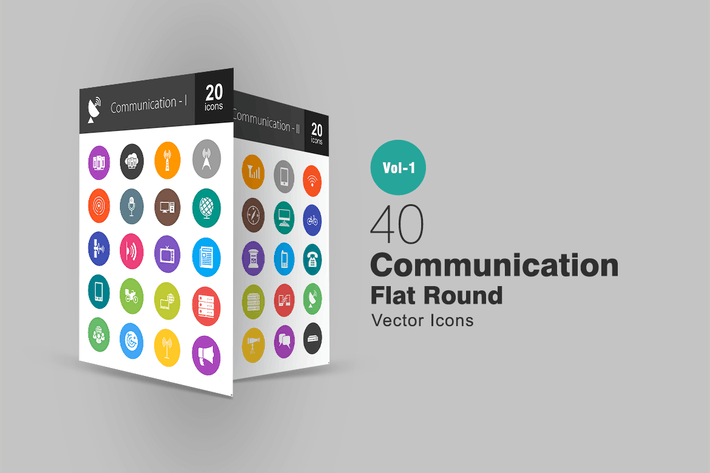 Thumbnail for 40 Communication Flat Round Icons