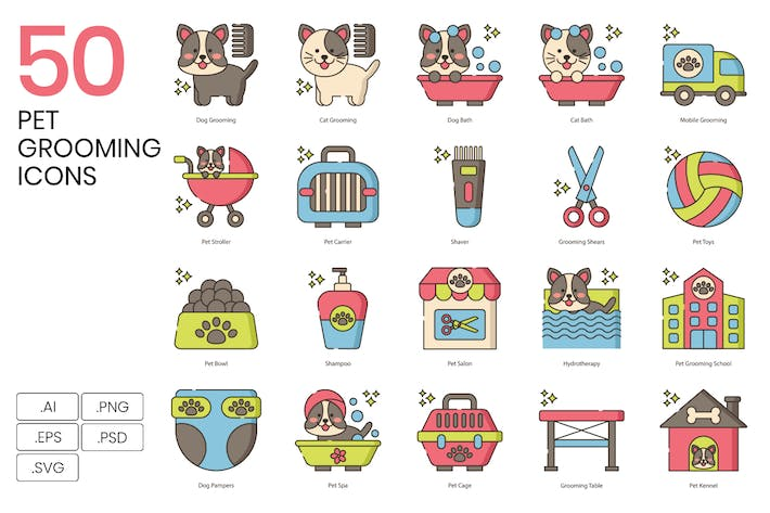 50 Pet Grooming Line Icons