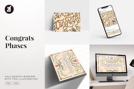 Felicidades caligrafía con ilustración dibujado a mano