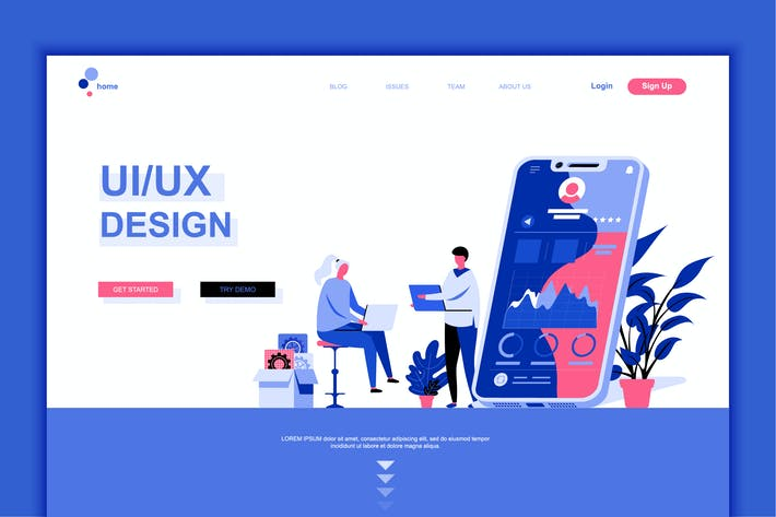 Thumbnail for UI / UX Design Flat Landing Page Template