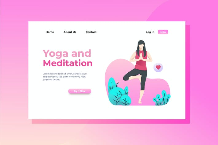 Thumbnail for Yoga and Meditation Landing Page Illustration
