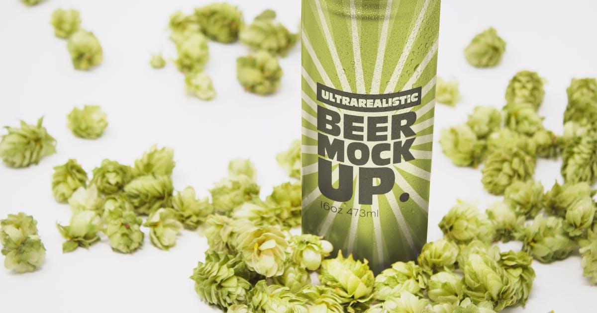 Download Perspective 16oz Beer Can Mockup by SmartDesigns_eu