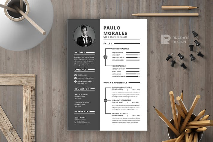 Thumbnail for Minimalist CV  Resume R49 Template