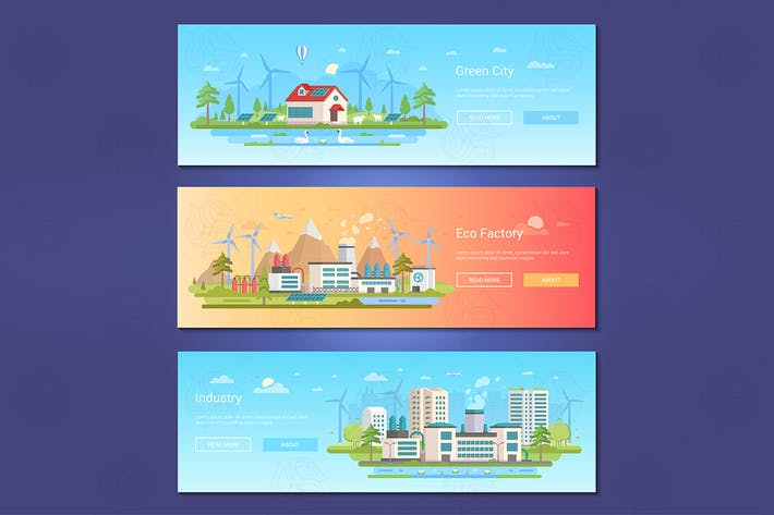 Thumbnail for Green city - set of flat design style banners