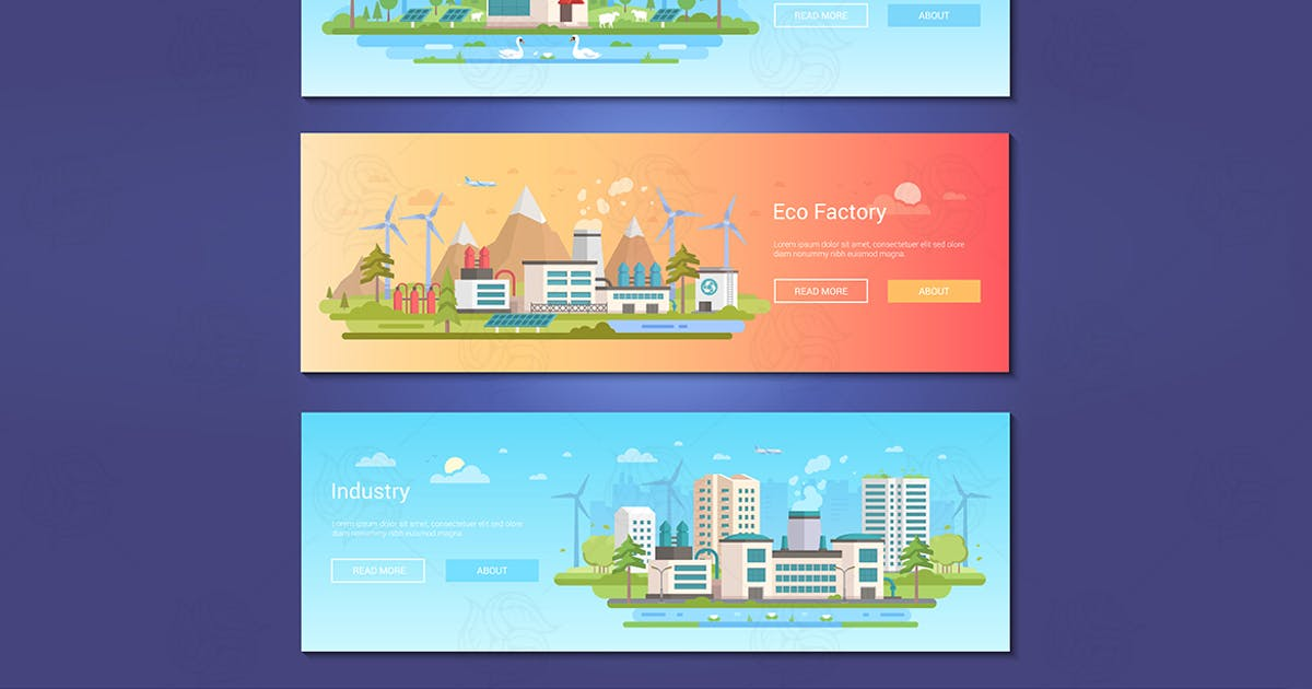 Download Green city - set of flat design style banners by BoykoPictures