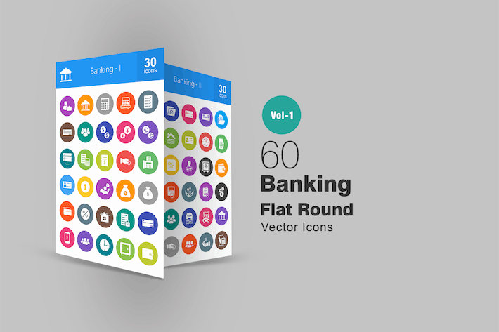 Thumbnail for 60 Banking Flat Round Icons