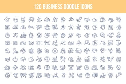 120 Business Doodle Icons
