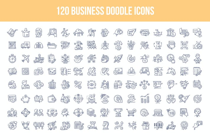 Cover Image For 120 Business Doodle Icons