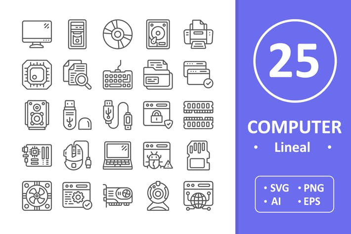 Thumbnail for 25 Computer Icons - Line