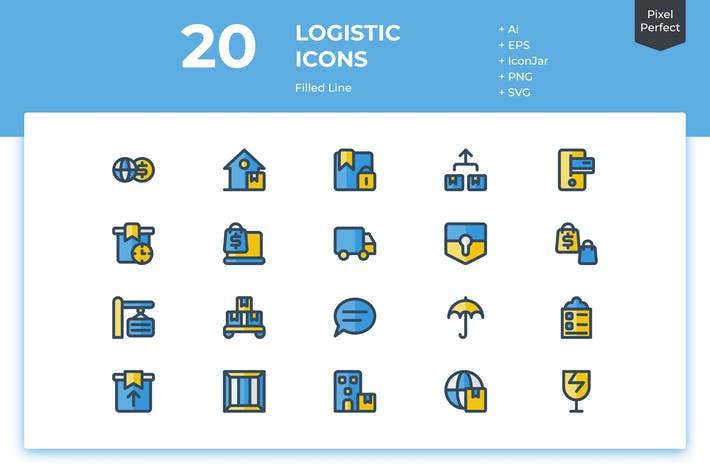 Thumbnail for 20 Logistic Icons (Filled Line)