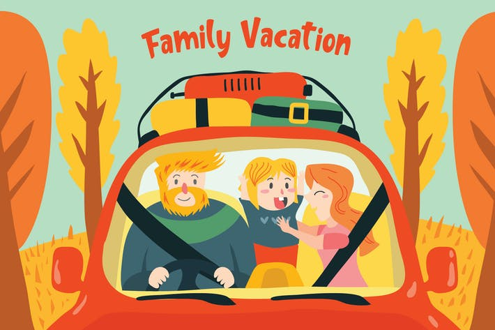 Thumbnail for Family Vacation - Vector Illustration