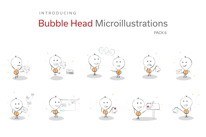 Thumbnail for Bubble Head Micro Illustrations - Notifications
