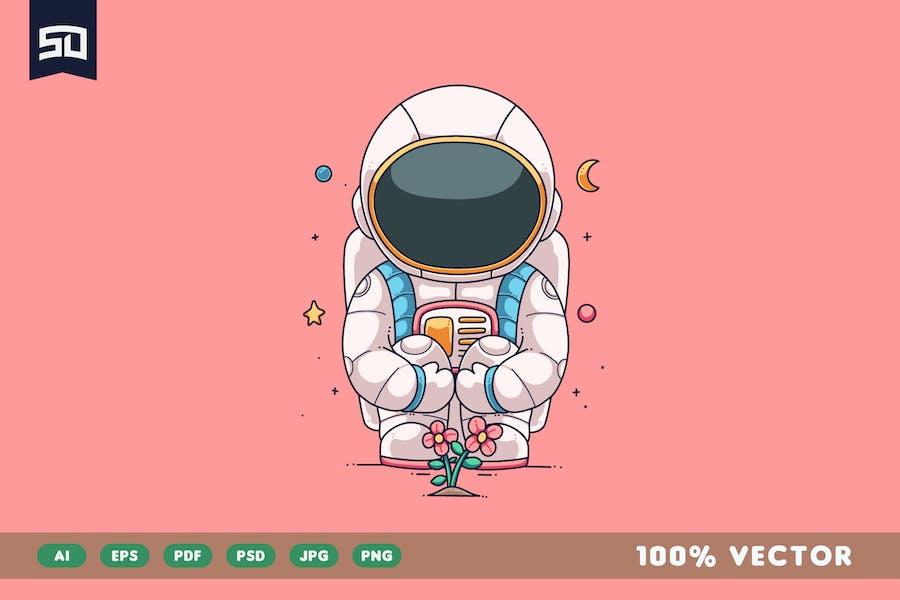 Cute Astronaut Illustration Design