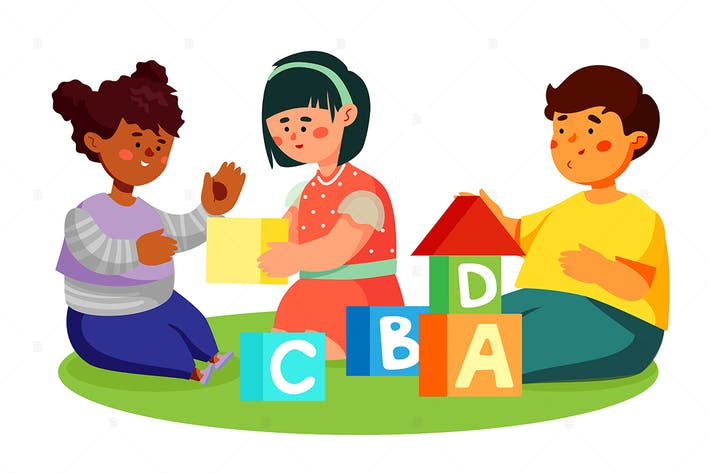 Thumbnail for Children playing with toy blocks - illustration