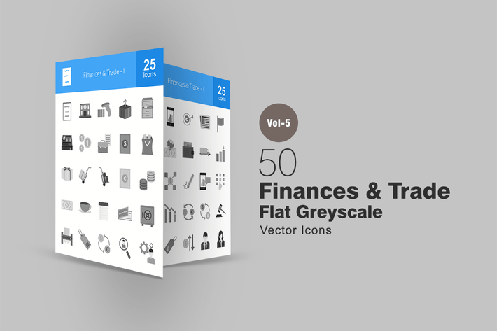 Thumbnail for 50 Finances & Trade Greyscale Icons