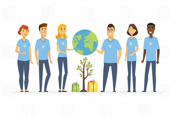 Thumbnail for Happy eco volunteers - vector illustration