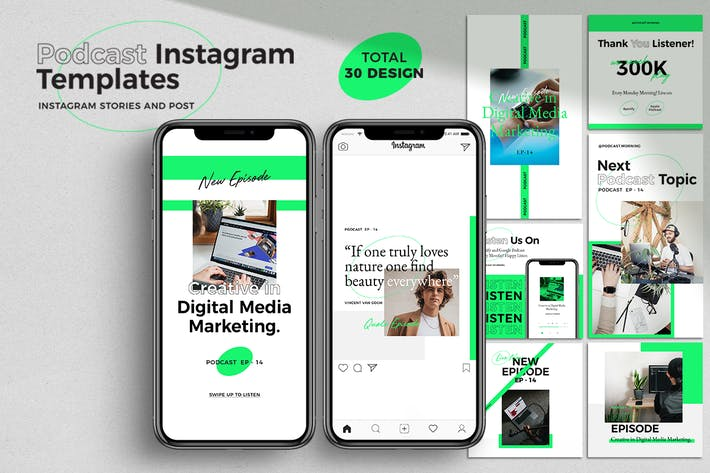Thumbnail for Podcast Instagram pack Templates