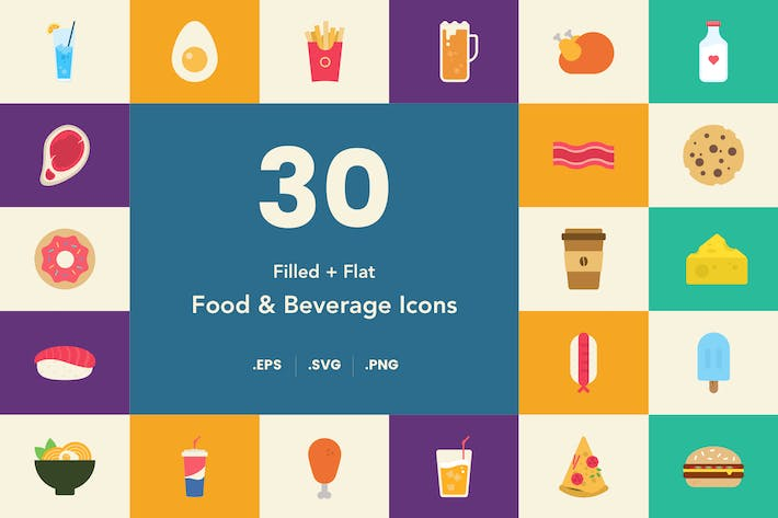 Thumbnail for Food and Beverage Icon Set