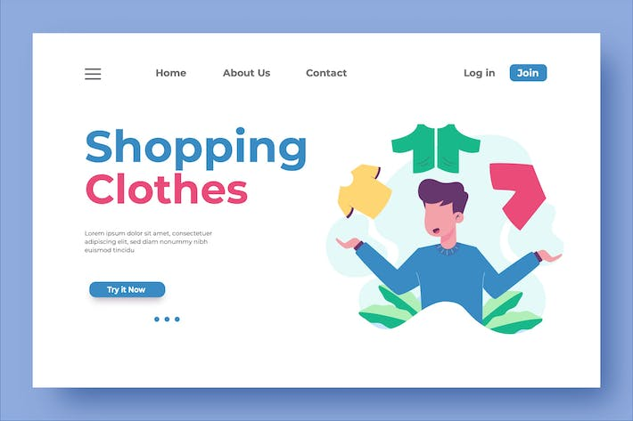 Thumbnail for Shopping Clothes Landing Page Illustration