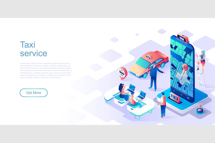 Taxi Service Isometric Flat Concept Header