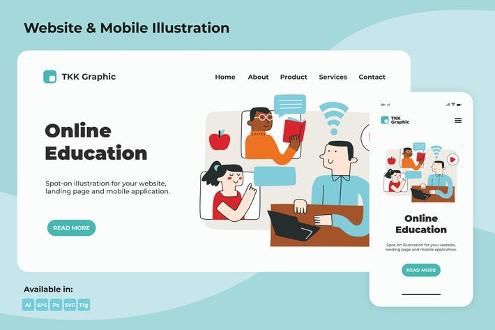 Thumbnail for Online Education landing page and mobile designs