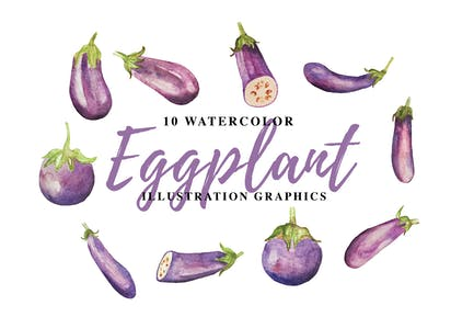 10 Aquarell Aubergine Illustration Grafiken