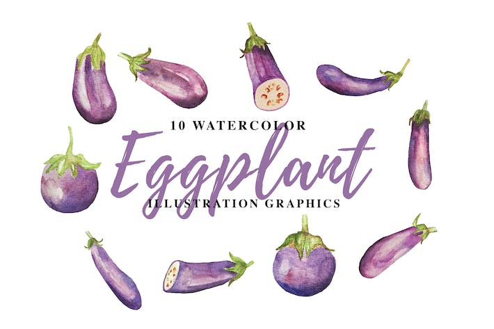 Thumbnail for 10 Watercolor Eggplant Illustration Graphics