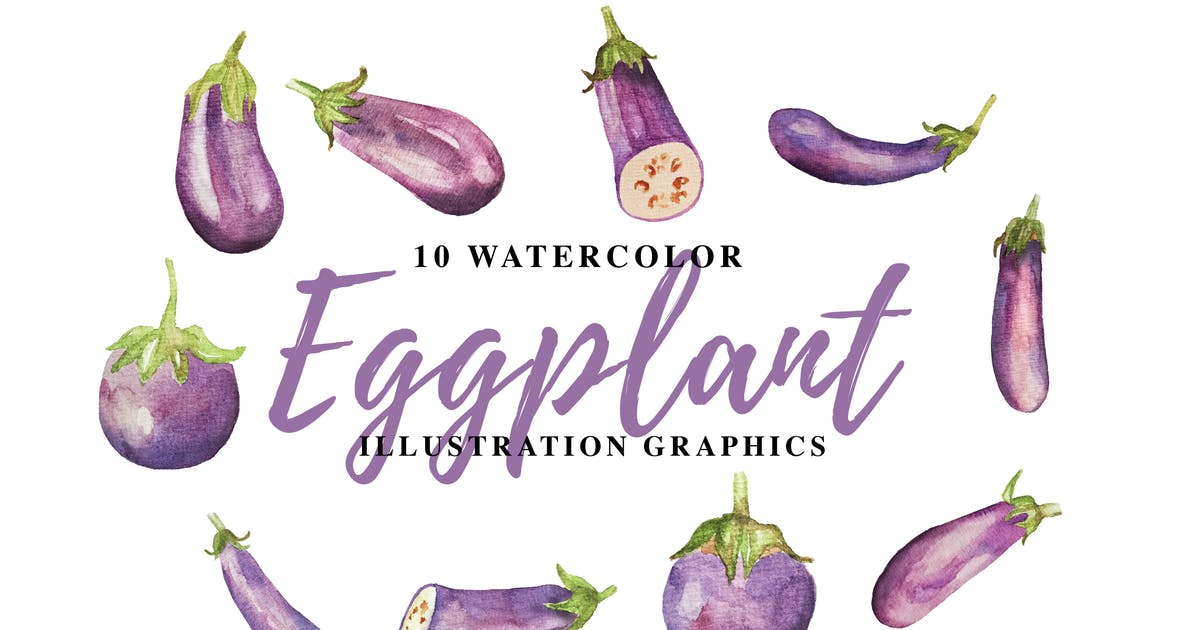 Download 10 Watercolor Eggplant Illustration Graphics by IanMikraz