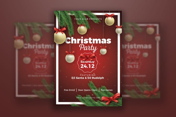 Cover Image For Christmas Party Poster Template
